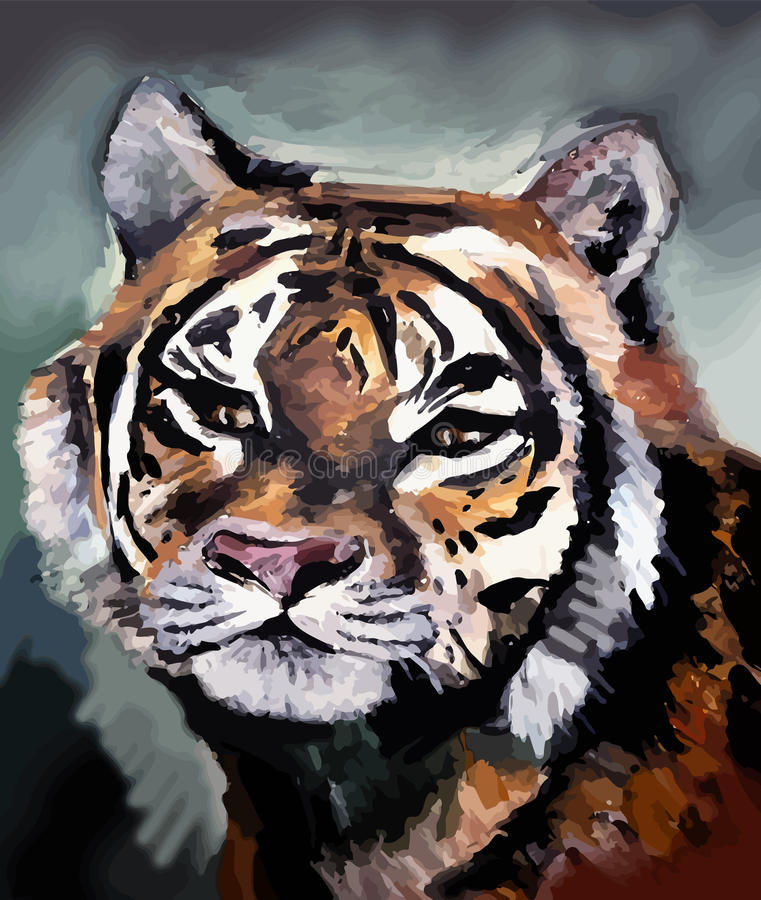 Взрослый тигр внутри между одичалой природой стоковая фотография