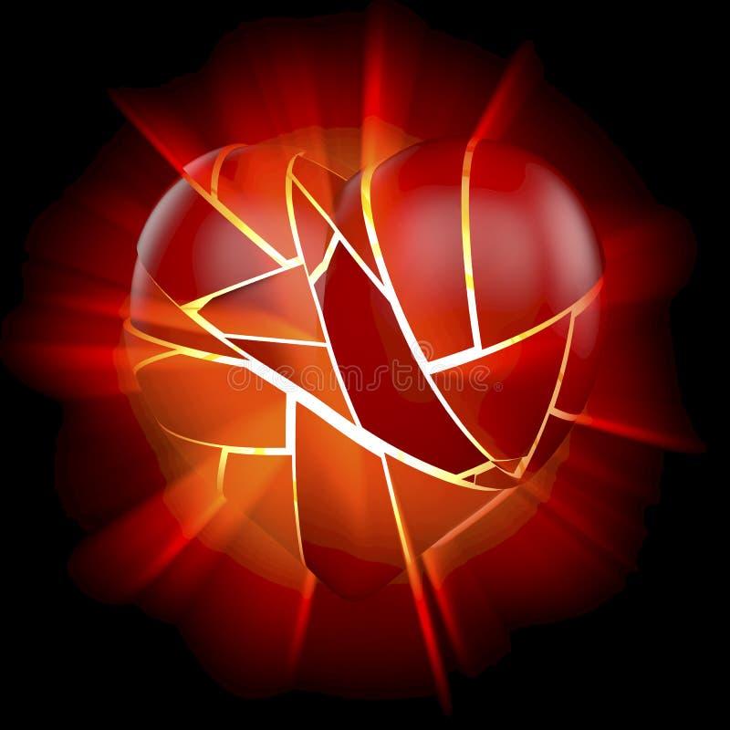 Взрывать, разрывая, разбитый сердце бесплатная иллюстрация
