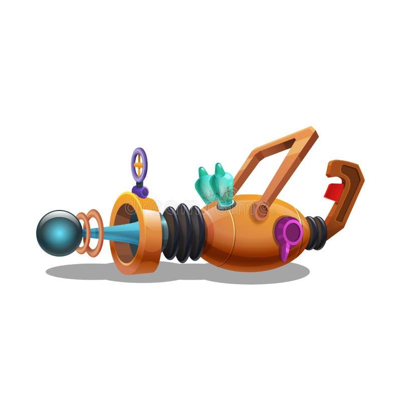 Взрывное устройство космоса шаржа ретро, оружие луча, лазерное оружие иллюстрация вектора