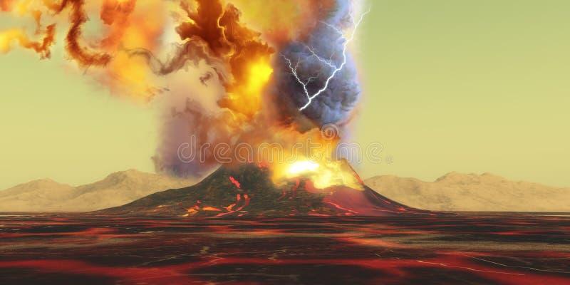 Взрывно извержение вулкана иллюстрация вектора