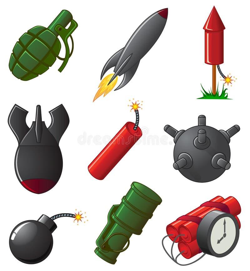взрывно установленные иконы иллюстрация штока