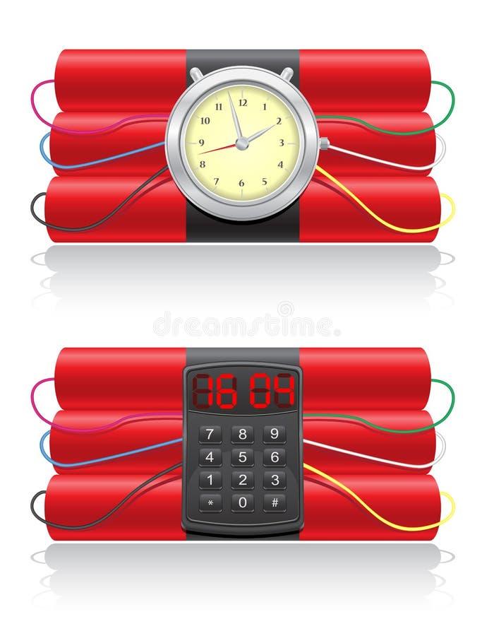 Взрывно illustrati вектора динамита и clockwork иллюстрация штока