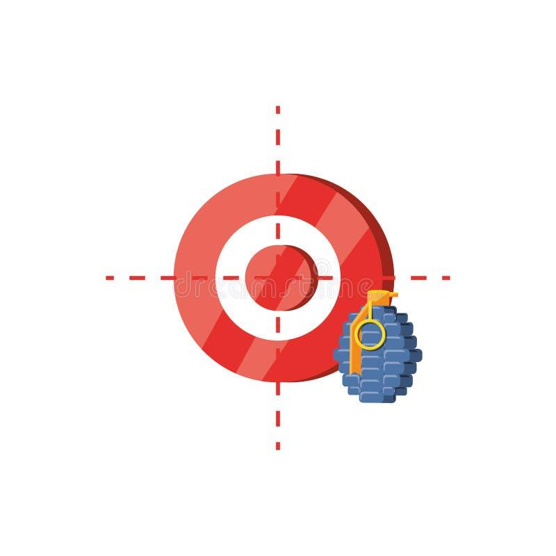 Взрывчатка гранаты со значком изолированным целью иллюстрация вектора