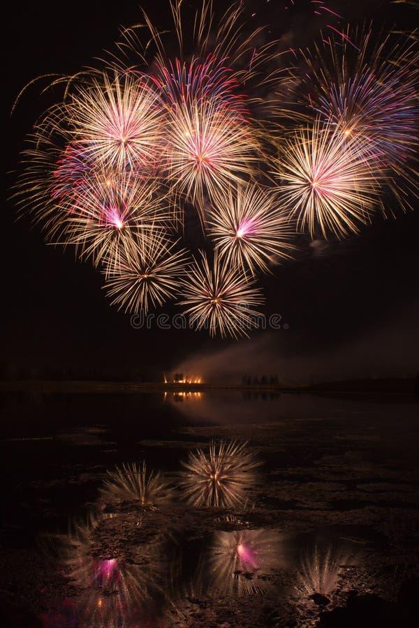 Взрывы оранжевых и розовых фейерверков стоковые фото
