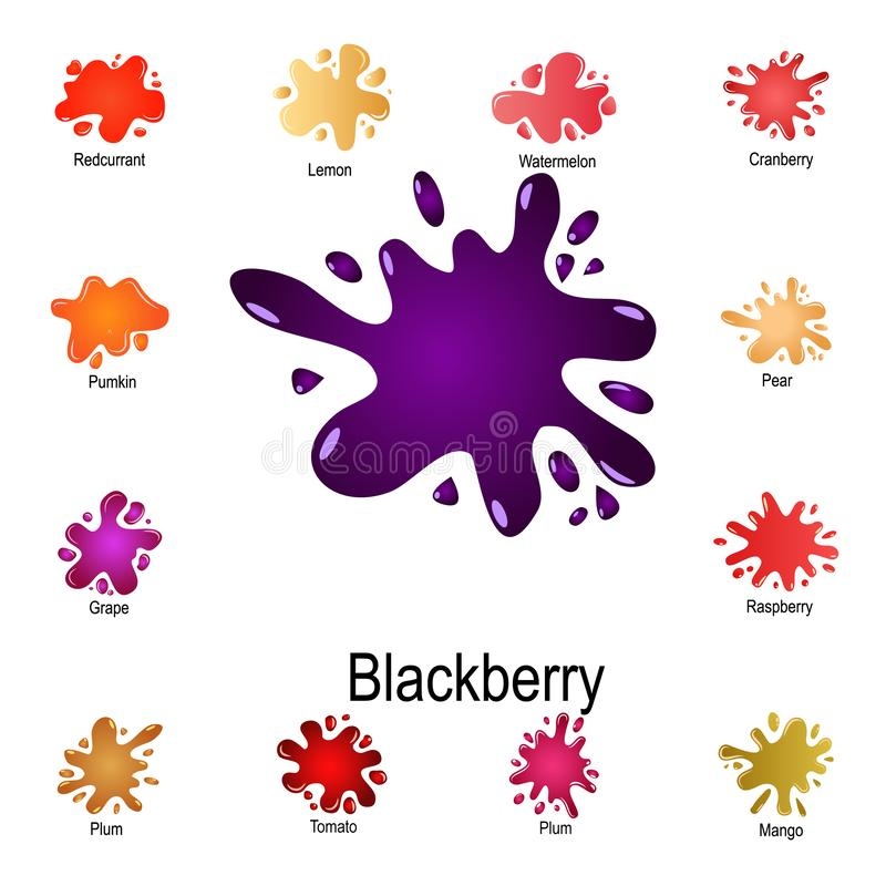 взрыв значка сока ежевики Детальный набор выплеска цвета Наградной графический дизайн Один из значков собрания для вебсайтов, иллюстрация вектора