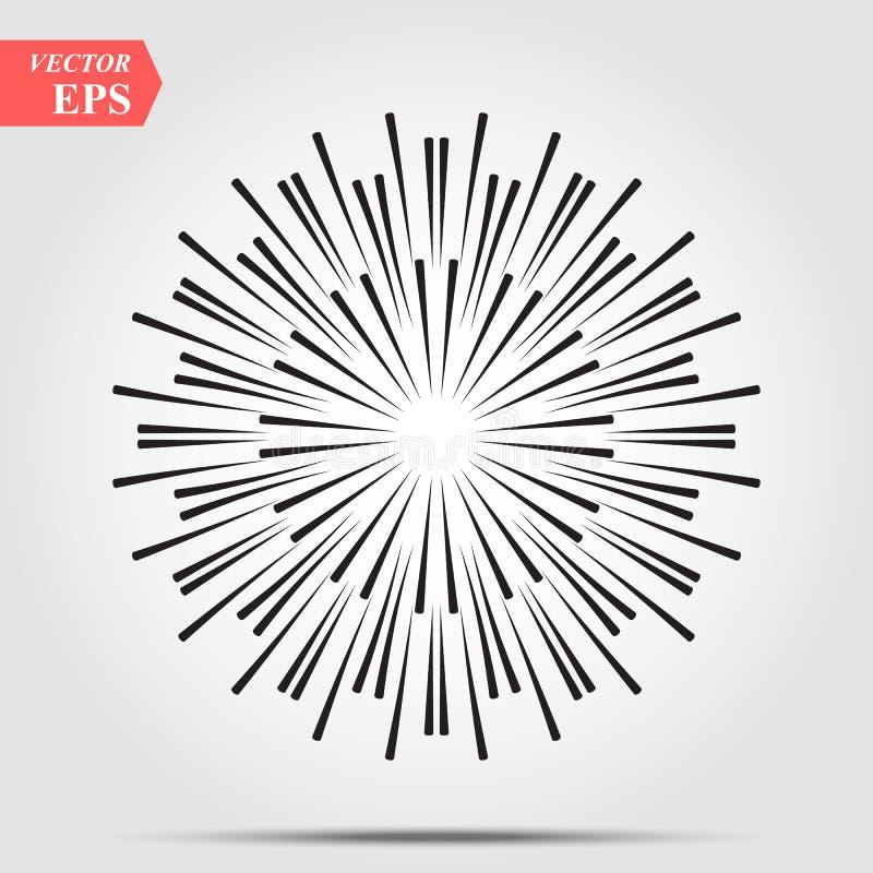 Взрыв лучей солнца в линии стиле хипстера Линии векторной графики лучей солнца Чертеж орнамента эскиза карандаша Солнца стилизова иллюстрация вектора