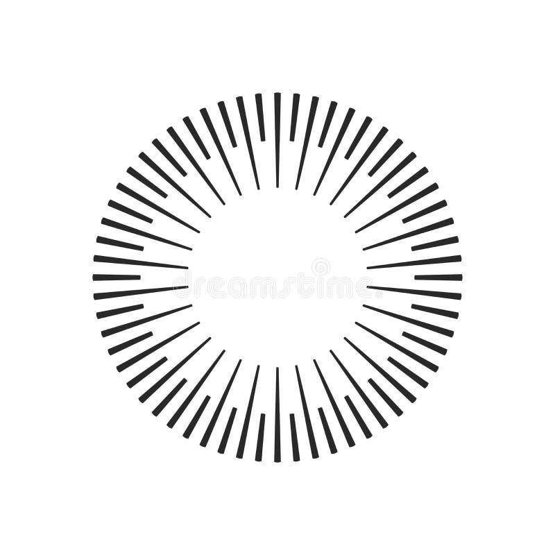 Взрыв, лучи, круги геометрического дизайна лучей Иллюстрация вектора изолированная на белой предпосылке иллюстрация вектора