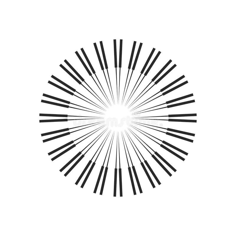 Взрыв, лучи, круги геометрического дизайна лучей Иллюстрация вектора изолированная на белой предпосылке иллюстрация штока