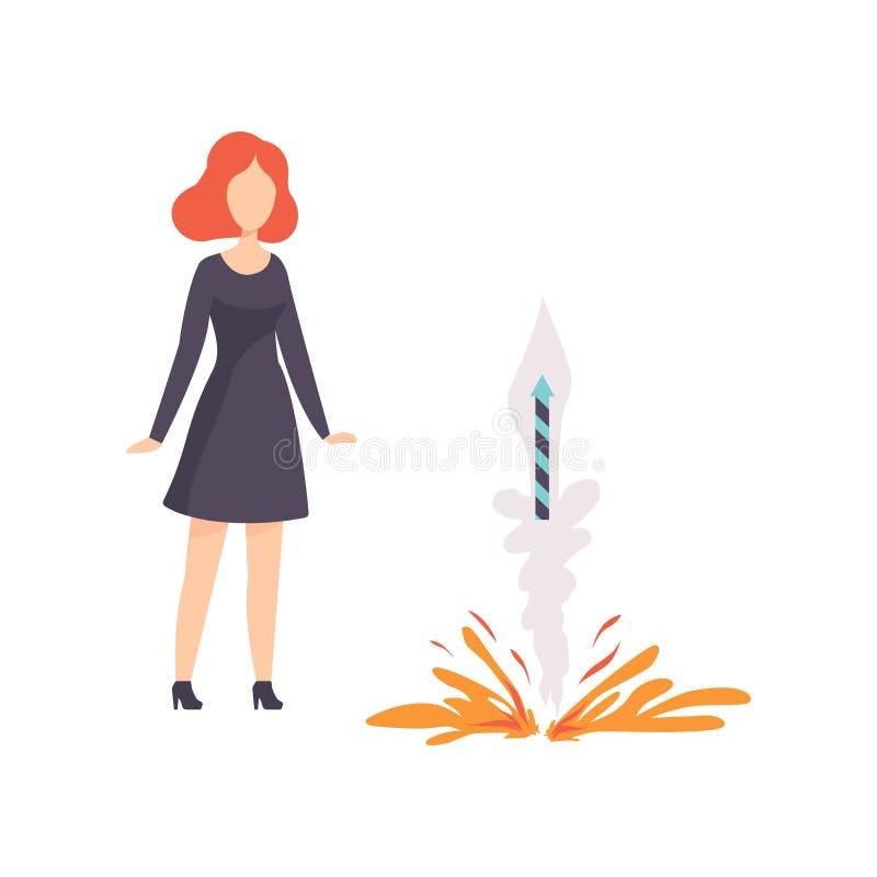 Взрыв молодой женщины наблюдая ракеты фейерверка, людей празднуя праздник с иллюстрацией вектора фейерверков на a бесплатная иллюстрация