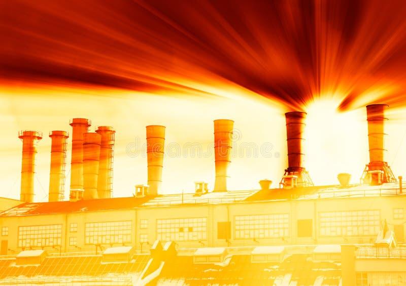 Взрыв на радиоактивной предпосылке фабрики стоковое изображение rf