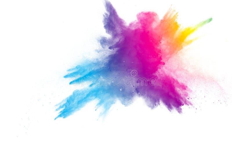 Взрыв порошка цвета радуги на белой предпосылке стоковые изображения