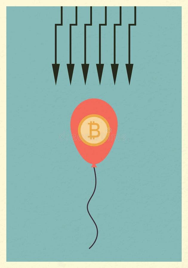 Взрыв пузыря Bitcoin Финансы дела Рост, экономика, вклад и технология, концепция руководства, минималистский ретро pos бесплатная иллюстрация
