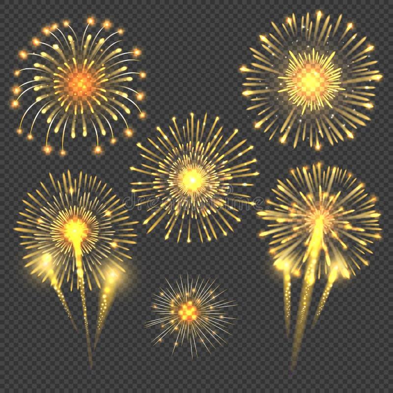 Взрыв салюта фейерверка золота вектора праздничный иллюстрация вектора