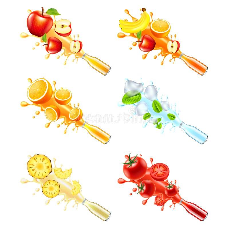 Взрыв сока от комплекта вектора фруктов и овощей 3d стеклянной бутылки иллюстрация вектора