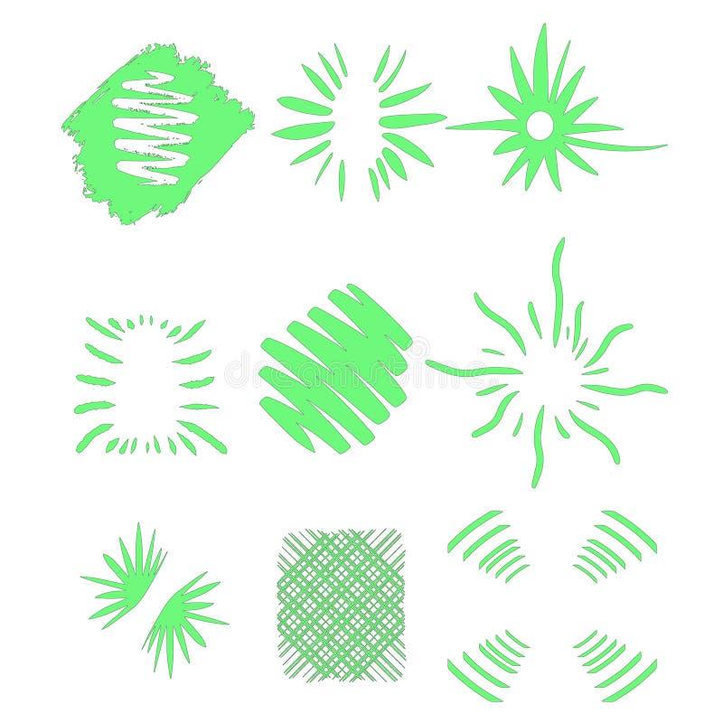 Взрыв Солнца, солнечность взрыва звезды Излучающ от центра тонких лучей, линии r Зеленый элемент дизайна Динамический иллюстрация вектора