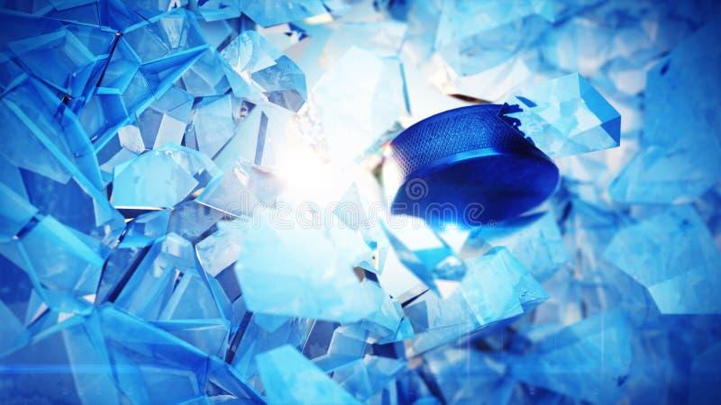 Взрыв шайбы хоккея через лед стоковые фотографии rf
