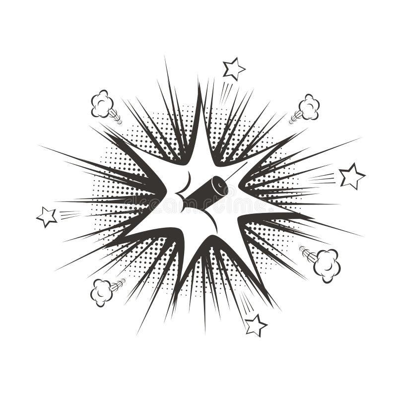 Взрыв dynamit шаржа вектора черный иллюстрация вектора