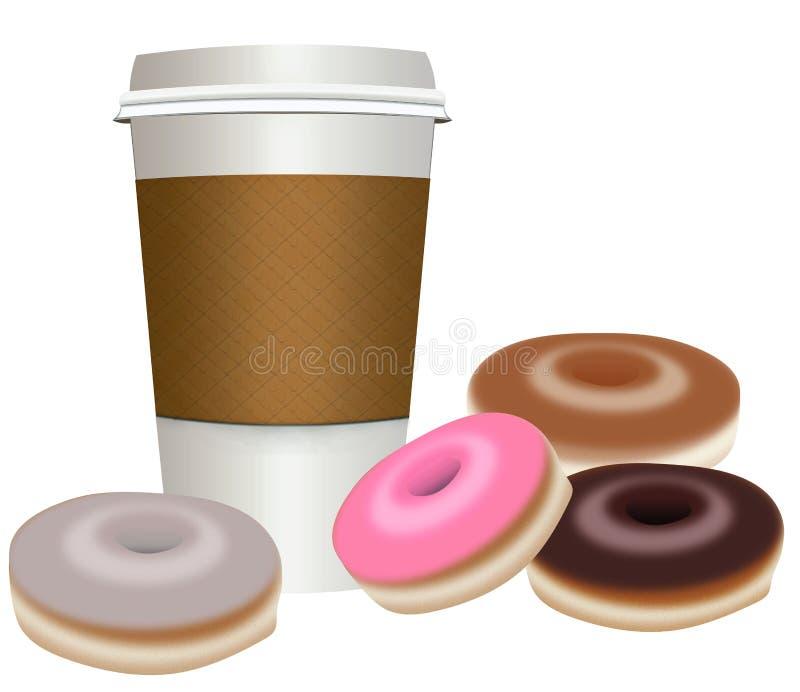 Взятие-вне, пойти кофейная чашка с donuts бесплатная иллюстрация