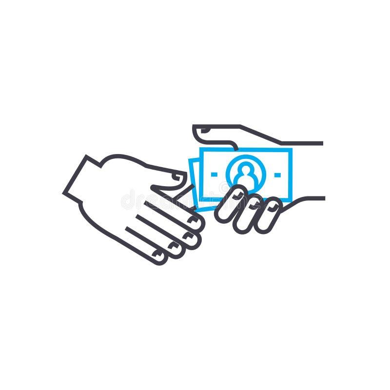 Взятка принимая вектор тонко выравнивает значок хода Подкупите принимать иллюстрацию плана, линейный знак, концепцию символа бесплатная иллюстрация