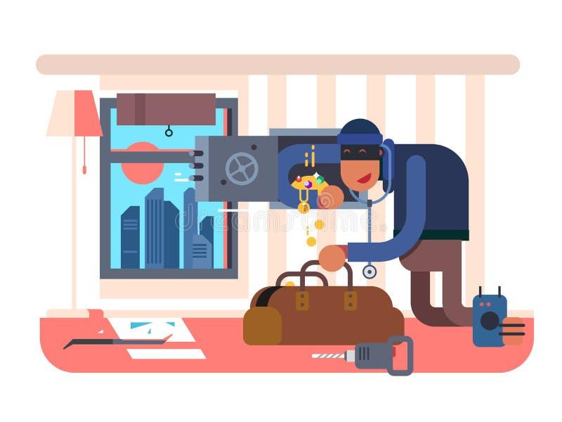 Взломщик в квартире иллюстрация вектора