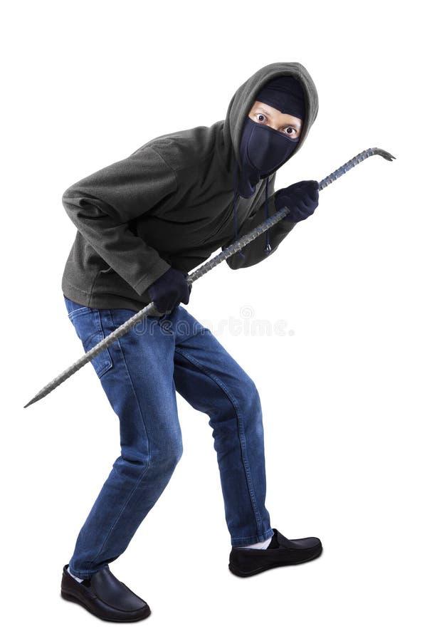Взломщик с ломом стоковые фотографии rf