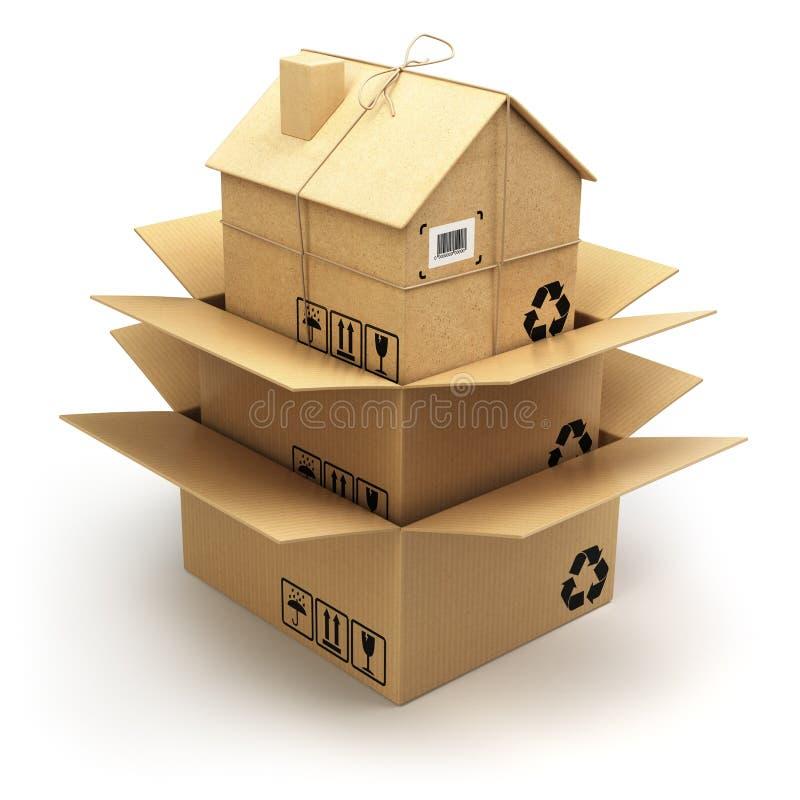 двигать дома Картонная коробка как домой на белизне Реальный est бесплатная иллюстрация