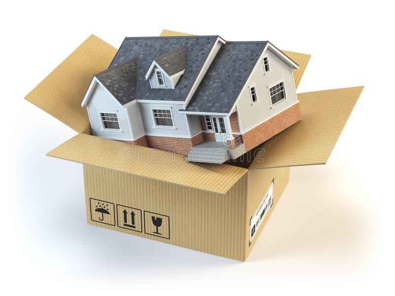 двигать дома Рынок недвижимости белизна принципиальной схемы изолированная поставкой иллюстрация штока