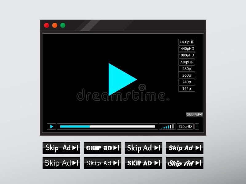 Видео- ÑŒweb '‡ Ð°Ñ ÐŸÐΜÑ онлайн или аудио оконная рама игрока бесплатная иллюстрация