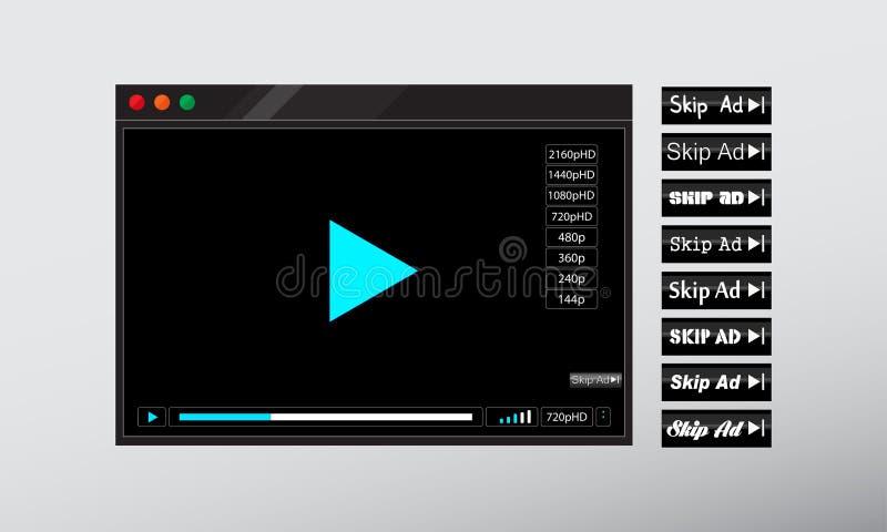 Видео- ÑŒweb '‡ Ð°Ñ ÐŸÐΜÑ онлайн или аудио оконная рама игрока иллюстрация вектора