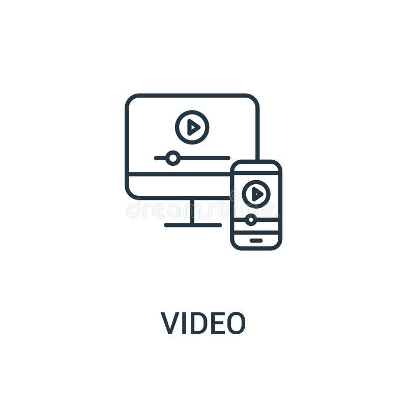 видео- вектор значка от собрания объявлений Тонкая линия видео- иллюстрация вектора значка плана Линейный символ для пользы на се бесплатная иллюстрация
