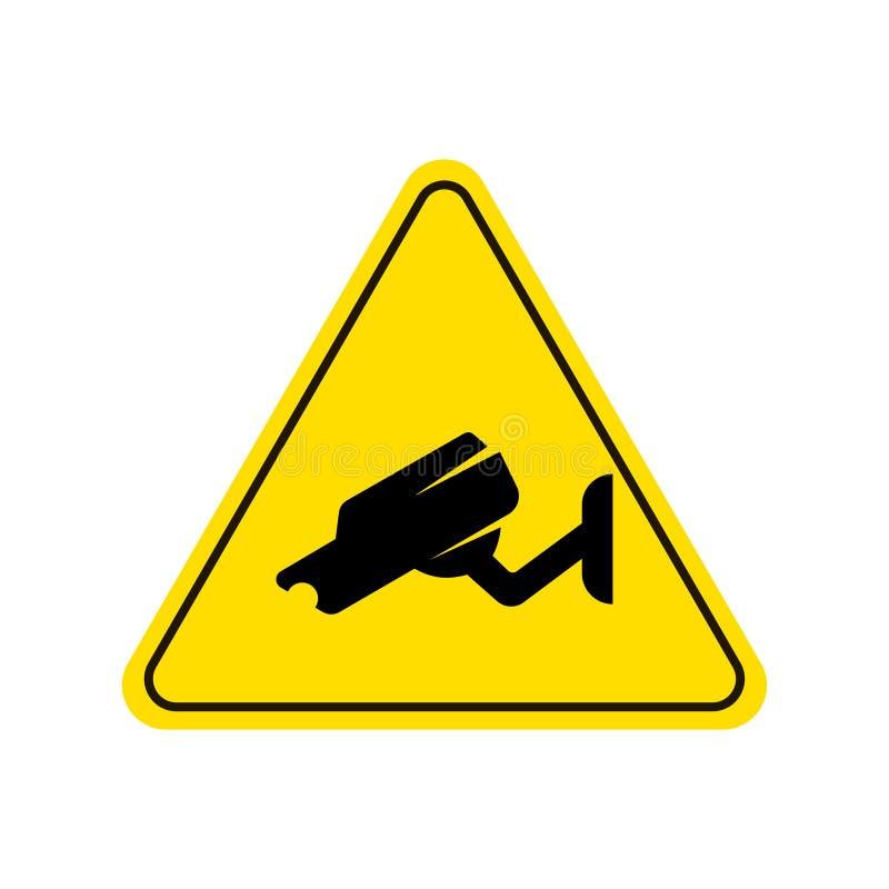 Видео- знак наблюдения Желтая предпосылка бесплатная иллюстрация