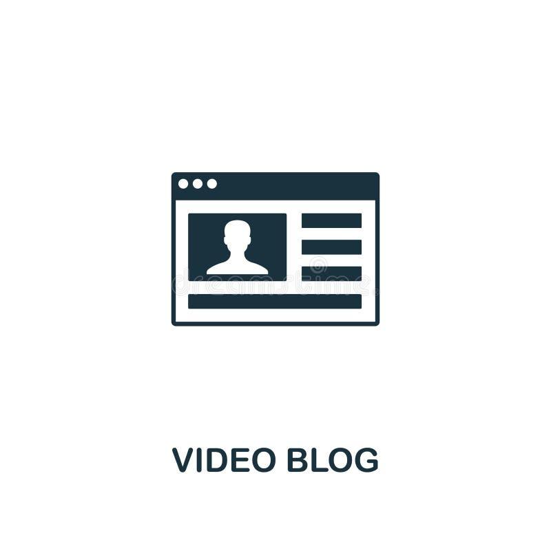 Видео- значок блога Творческий дизайн элемента от собрания содержания значков Значок блога пиксела идеальный видео- для веб-дизай иллюстрация вектора