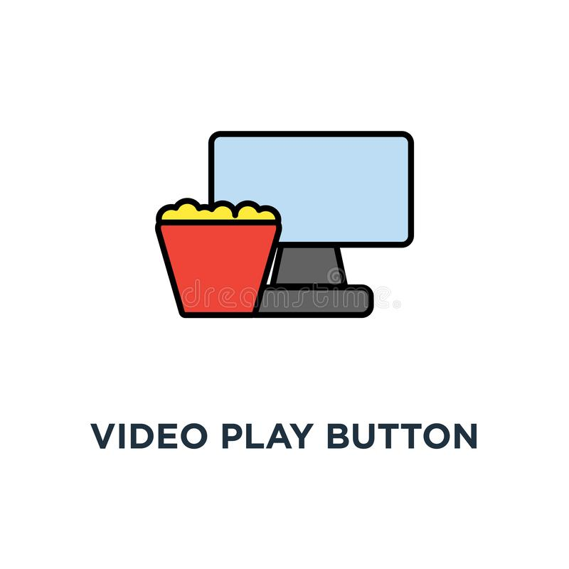 Видео- значок кнопки игры дизайн символа концепции фильма дозора, фильм на дисплее ноутбука с ведром попкорна, домашнее кино, иллюстрация штока
