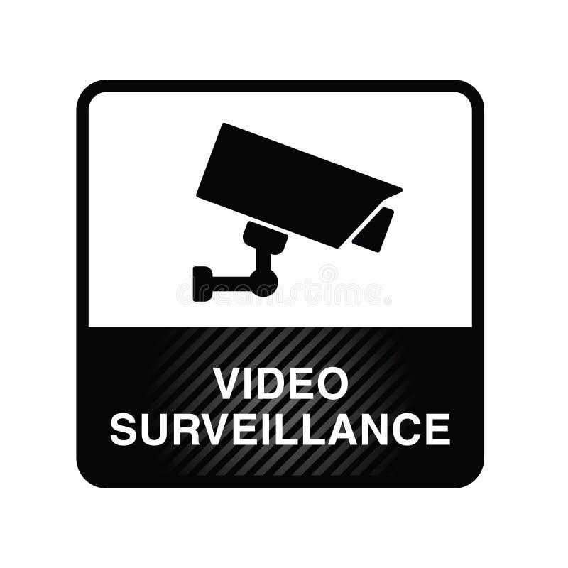 Видео- значок наблюдения в черной иллюстрации цвета иллюстрация вектора