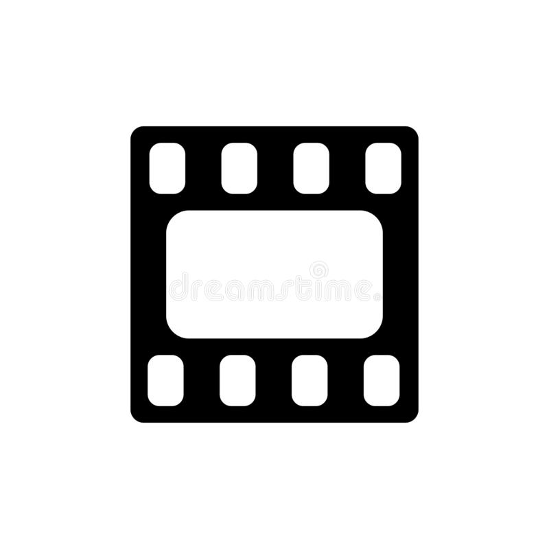 Видео- значок Рамка фильма Значок фильма или средств массовой информации плоско Черная пиктограмма изолированная на белой предпос бесплатная иллюстрация