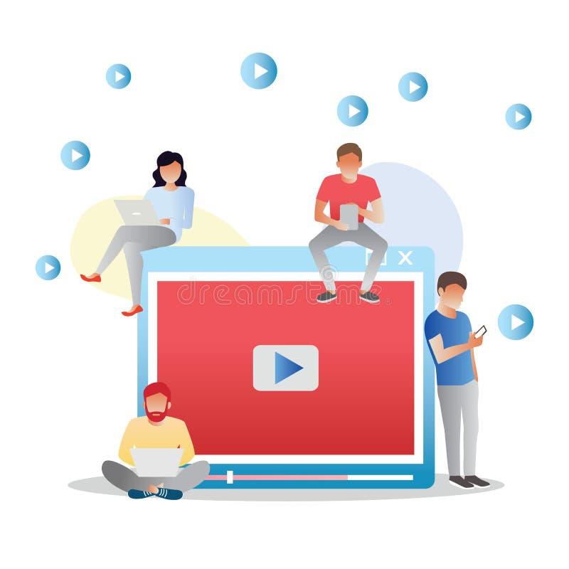 Видео- иллюстрация концепции молодых людей используя мобильные устройства, ПК планшета и смартфон для в реальном маштабе времени  бесплатная иллюстрация