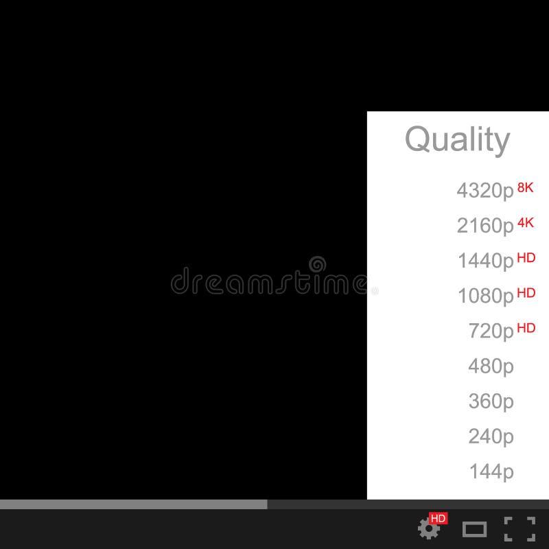Видео- качественный выбор Качество видео, фильма или изображения на белой и черной предпосылке также вектор иллюстрации притяжки  иллюстрация вектора