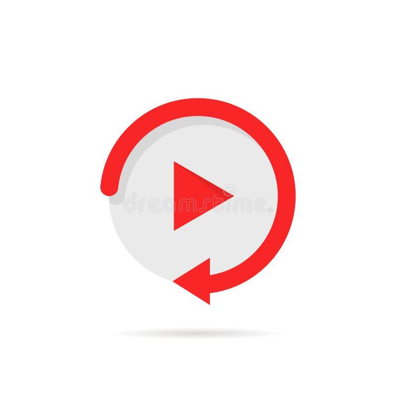 Видео- кнопка игры любит простой значок воспроизведения иллюстрация штока