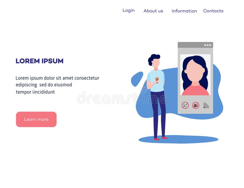 Видео- концепция болтовни на шаблоне интернет-страницы - человеке используя smartphone и передвижной app для того чтобы поговорит бесплатная иллюстрация