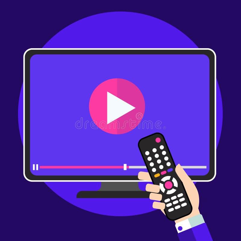 Видео- концепция значка консультаций по телевизору Изучите и учащ рост предпосылки, дистанционного обучения и знания видео бесплатная иллюстрация