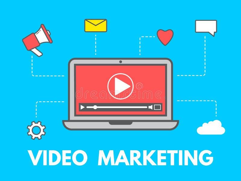Видео- концепция маркетинга Компьтер-книжка с значками дела на голубой предпосылке Социальные сеть и средства массовой информации иллюстрация штока