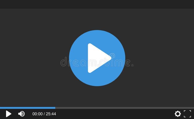Видео-плейер для вебсайта Шаблон интерфейса для сети и передвижных apps Плоский дизайн, иллюстрация вектора на предпосылке бесплатная иллюстрация