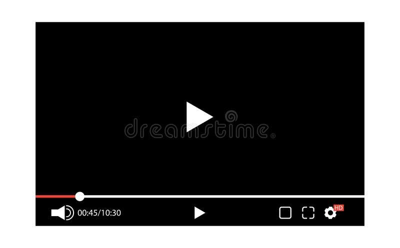 Видео-плейер экрана Шаблон для вебсайта иллюстрация вектора