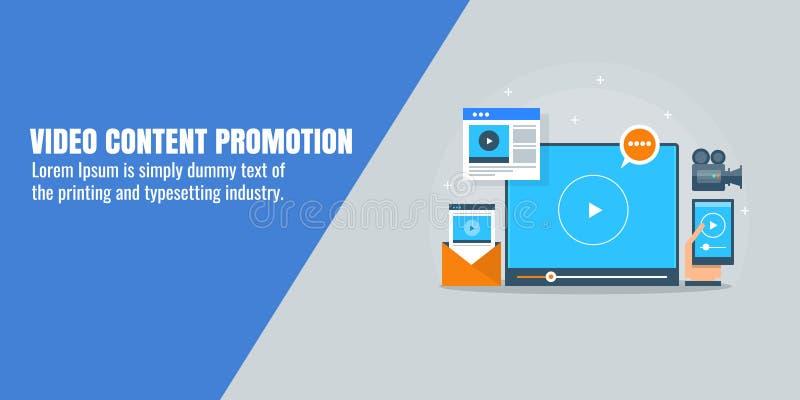 Видео- содержимое продвижение, видео- маркетинг, оптимизирование, социальные средства массовой информации, концепция seo Плоское  иллюстрация штока