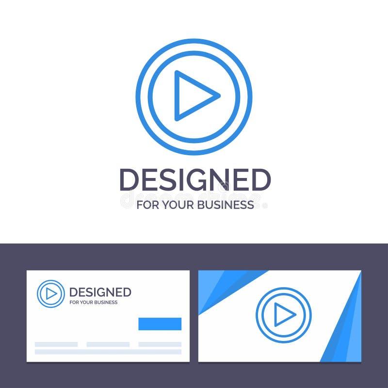Видео творческого шаблона визитной карточки и логотипа, интерфейс, игра, иллюстрация вектора потребителя иллюстрация штока