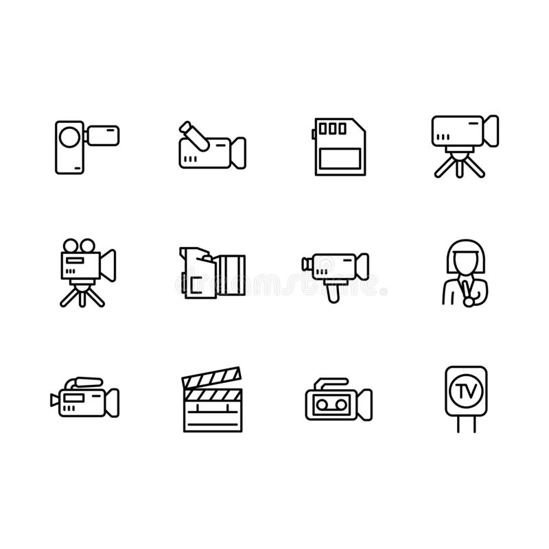 Видео, телевидение и фильмы снимая набор символов значка простой Содержит отчет о ТВ значка, широковещание, видеокамеру, новости стоковые изображения rf