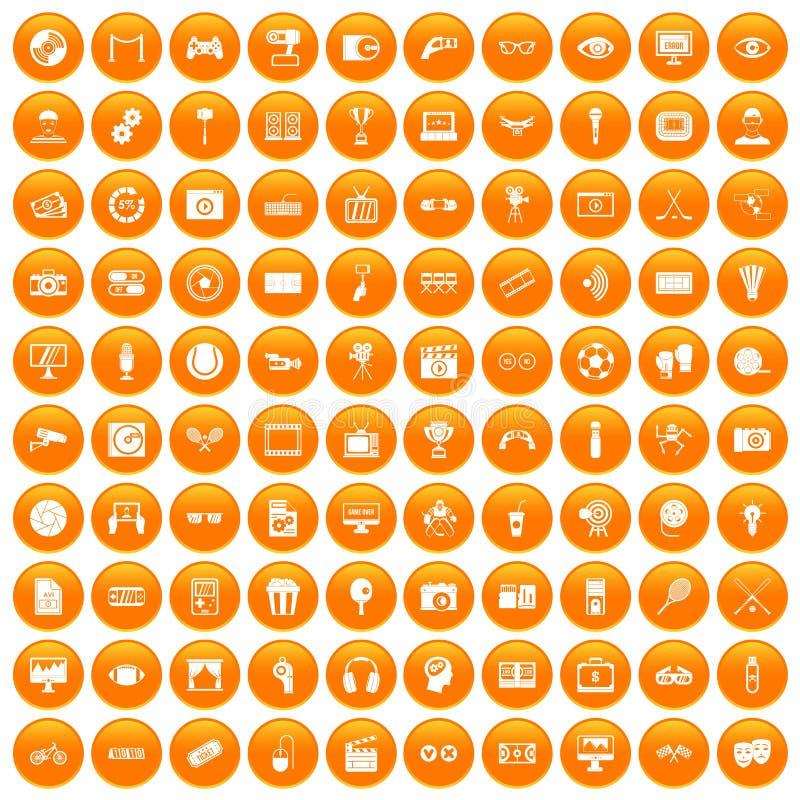 100 видео- установленных значков оранжевыми иллюстрация вектора