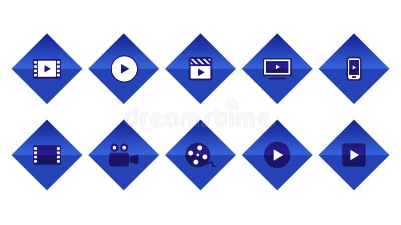 Видео- vod фильма течь иллюстрация вектора значка кнопки установленная Голубой цвет иллюстрация вектора