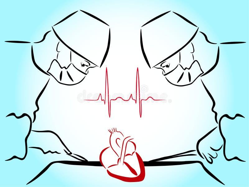 Видимый сердце, руки сердечных хирургов с инструментами иллюстрация вектора