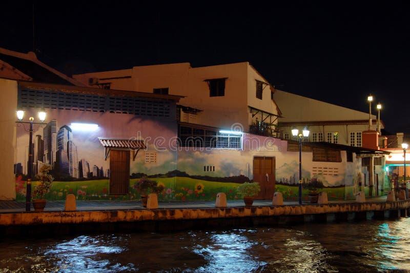 Виды на город Малаккы на ноче, Малайзии стоковое изображение